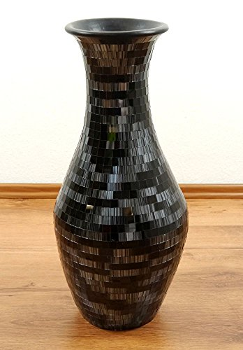 Beautiful Black Terracotta Floor Vase with Glass Mosaic, Handcrafted Balinese Home Decor