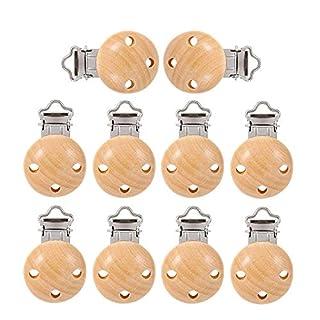 HO2NEL 10 Stücke Schnuller Clips Holz Schnullerclip Dummy Nippel Halter Clip für Schnullerkette Baby Kinderkrankheit Natürliche Farbe