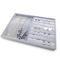PuTwo Jewellery Organiser 2 Sections Lint Drawer Organiser Grey Jewellery Tray Handmade Jewellery Display Tray for Bracelets, Necklaces, Earrings, Rings