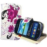 Samsung Galaxy S3 Mini i8190 Buchdesigner Tasche mit trendigen Style Cheery Flower Cover Leder Tasche Flip Case Schutz Hülle Handy Seiten Tasche im Neuem Desgin