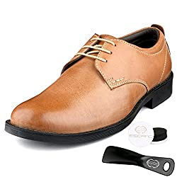 Escaro Mens 100% Genuine Leather Tan Formal Derby Lace Up Dress Shoes (ES3005KB_TAN_10)