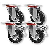 Transportrollen, Schwerlastrollen 4 Stück im Set / 2x Lenkrolle & 2x Lenkrolle mit Bremse / 75mm bis 200mm Durchmesser / Größe: 100mm