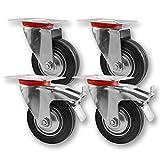 Transportrollen, Schwerlastrollen 4 Stück im Set / 2x Lenkrolle & 2x Lenkrolle mit Bremse / 75mm bis 200mm Durchmesser / Größe: 75