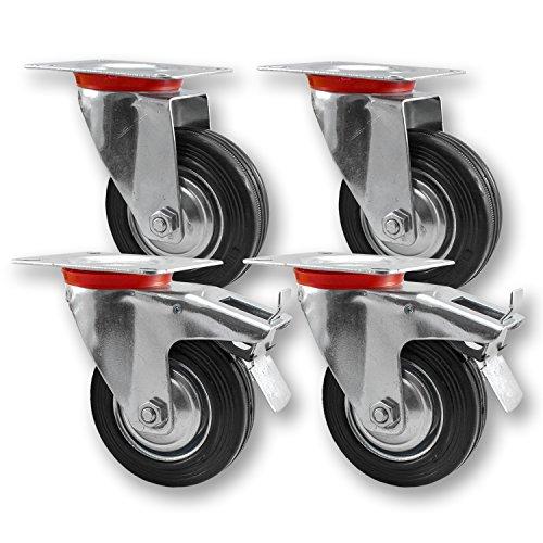 Transportrollen, Schwerlastrollen 4 Stück im Set / 2x Lenkrolle & 2x Lenkrolle mit Bremse / 75mm bis 200mm Durchmesser / Größe: 75mm Test