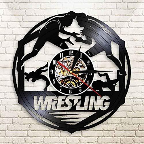 Thusjh Vinyl-Wanduhr Wrestling Combat Sport Modernes Design Kunst Handgefertigt Stempeluhr Freistil Kampf 3D Wanduhr Kämpfer