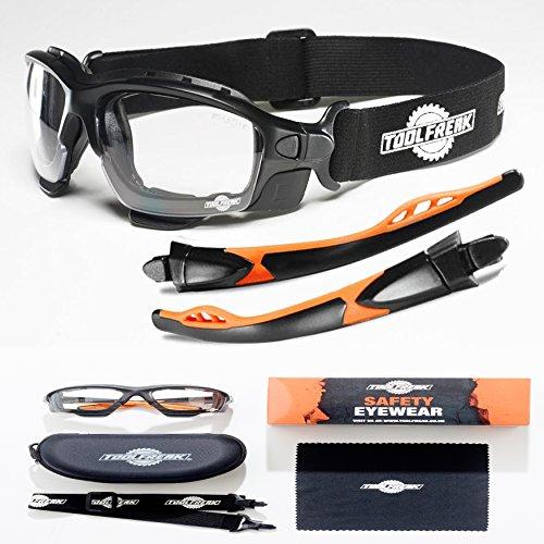Schutzbrille und Sicherheitsbrille Perfekte Kombination | Premium Sicherheits-Spoggles von ToolFreak | Mit Schaumstoffpolsterung | Stylischer Augenschutz | Anti-Kratzbeständig (klare Linsen) (In Sicherheits-brille Pink)