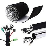 Câble Rangement du Néoprène, Mopalwin DIY Flexible Câble Organisateur Masquer Cache câbles et Protecteur de câbles pour Câble TV Audio USB ou Ordianteur, 3M