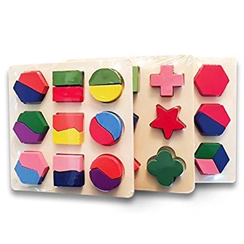 hibote 3 set di puzzle in legno, Geometria intellettuale puzzle Frazioni giocattolo, Montessori presto educativi (Stacking Legno)