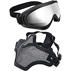 xcyt Tactical Airsoft máscara ajustable malla de acero Máscara de media cara máscara y gafas protectoras para caza, tiro, Paintball, negro