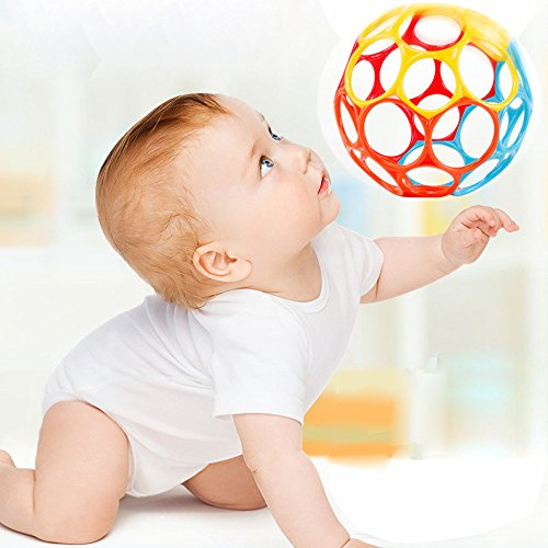 Berrose-Kinder Biegsamer Ball Greifen Ball Glocke Exquisite Ball Lernspielzeug, ab 3 Monat - Spielzeug für Babys-gesorteerde Kleur Kinder biegsamer Ball, der Ball Bell Exquisite Ball (zufällig, 11cm)