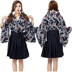 DuuoZy Mujeres Kimono japonés Vestido de Disfraces de Halloween Cosplay Carpa Impreso Traje de Anime, Figure Color, m