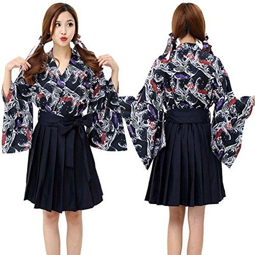 DuuoZy Frauen Japanische Kimono Fancy Dress Cosplay Karpfen Gedruckt Anime Kostüm , l , figure (Weiblich Japanische Kostüme)