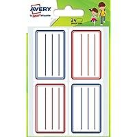Avery Sachet de 24 Etiquettes Scolaires - 36x56mm - Bleu et Rouge (ECOL24)