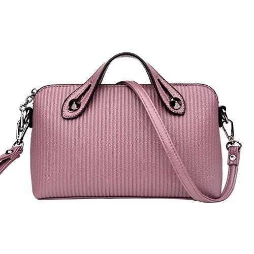 Damenmode Stripe Top Griff Satchel Handtaschen Schultertasche Tote Handtasche Multicolor,Pink-M (Handtasche Tote Stripe Pink)
