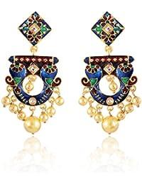 Sinjara Fashion Jewellery Gold Plated Pearl Fancy Party Wear Meenakari Dangle & Drop Earrings For Women (62e)