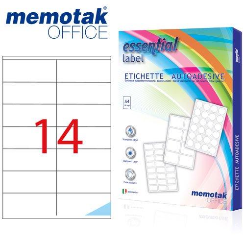 Packung mit 100Blatt A4Etiketten Aufkleber memotak Format in mm 105x 421400Etiketten für Behälter