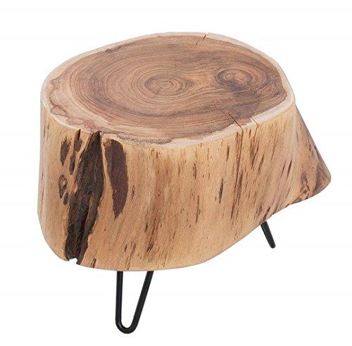 Riess Ambiente Massiver Beistelltisch Baumstamm Goa 35cm Akazie Hairpin Leg Couchtisch Akazienholz Baumscheibe Metall Schwarz