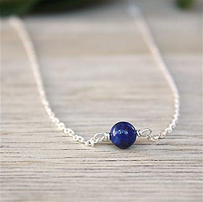 collier pierre de gemmes lapis lazuli sur chaine argent massif