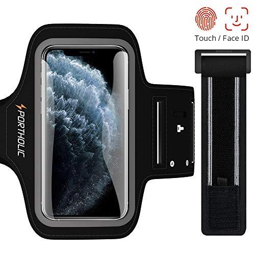 PORTHOLIC Sport Armband Fitness für iPhone 11 Pro 11 XR, Galaxy S10 S9 S8, Huawei P30 P20, Schlüsselhalter, Kartensteckplatz, Kopfhörerloch, für Handy Bis zu 5,8 Zoll, für Joggen Radfahren Wandern