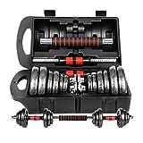 WXH Manubri con bilanciere Regolabile a Doppia assicurazione, con connettore, Tecnologia di verniciatura, Totale di 45 libbre (2 x 22,5 lbs), Sollevamento Pesi e Bodybuilding,L