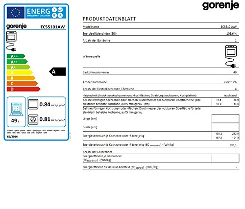 Gorenje EC 55101 AW Elektro Freistehender Herd - 3