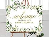 Tamengi Greenery Baby Shower Willkommensschild Kalligraphie Welcome to Baby Shower Schild, Eukalyptus Baby Dusche, Horizontal, Querformat, Gelb