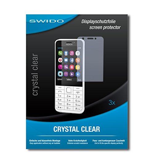 SWIDO Bildschirmschutzfolie für Nokia 230 Dual SIM [3 Stück] Kristall-Klar, Extrem Kratzfest, Schutz vor Öl, Staub & Kratzer/Glasfolie, Bildschirmschutz, Schutzfolie, Panzerfolie