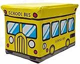 KIDS BOYS GIRLS STORAGE SEAT STOOL TOY BOOKS CLOTHES BOX CHEST CHILDRENS NEW (SCHOOL BUS)