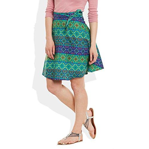 ... Damen Kleid Baumwolle gedruckt Wrap-Around Sarong Strandrock eine Linie  Mehrfarbig 4 ...