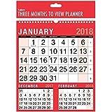 2018 Tre mesi per visualizzare il calendario di planner muro a spirale - lavoro a casa