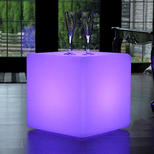 PK Green LED Leuchtwürfel Hocker 40 cm für Garten - Würfelleuchte Würfel Lampe Sitzwürfel Tisch mit Farbwechsel (Green Cube)