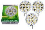 3x TGG415-2.5W dimmbare G4 LED 12V AC/DC ca. 2.5 Watt 250 Lumen mit 3000K Power SMDs warm-weiß Leuchtmittel G4