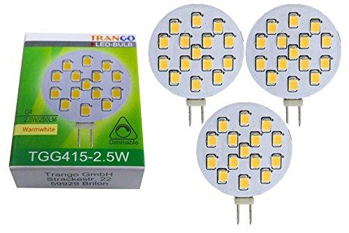 3er Pack TGG415-2.5W Dimmbare G4 LED 12V AC/DC ca. 2.5 Watt 250 Lumen mit 3000K Power SMDs warm-weiß Leuchtmittel G4 GU4 MR16 Lampensockel Spot Halogenersatz