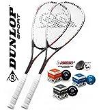 Купить DUNLOP 2x Powersmash Squashschläger inkl. 3x Squashbällen (blau rot gelb) ! Squashset ist perfekt für Einsteiger und Freizeitspieler