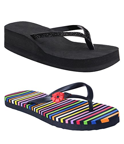 HD Women's Hawai Chappal & Black Heel Slipper  available at amazon for Rs.349