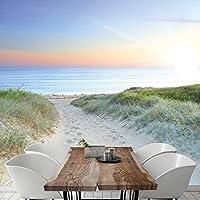 Papel Pintado Mar Playa 274 x 254 cm Fotomurales Océano Duna Lejos Puesta del Sol livingdecoration