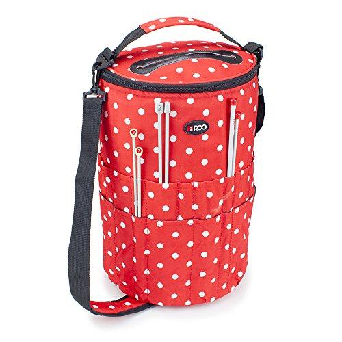 Stricken Eimer Tasche Nähen, Zubehör und Craft Nadel Aufbewahrung Organizer mit Garn Feeder in rot Polka Dot