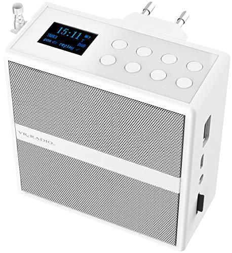 VR-Radio DAB Radio: Steckdosenradio mit DAB+/FM, Bluetooth, USB, Freisprecher & Akku, 6 W (Badezimmer Radio)