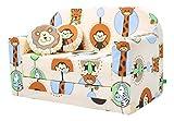 LULANDO Classic Kindersofa Kindercouch Kindersessel Sofa Bettfunktion Kindermöbel zum Schlafen und Spielen ZOO Ecru