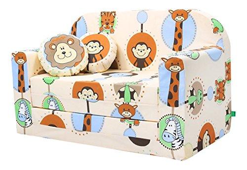 LULANDO Classic Kindersofa Kindercouch Kindersessel Sofa Bettfunktion Kindermöbel zum Schlafen und Spielen, Farbe: ZOO Ecru