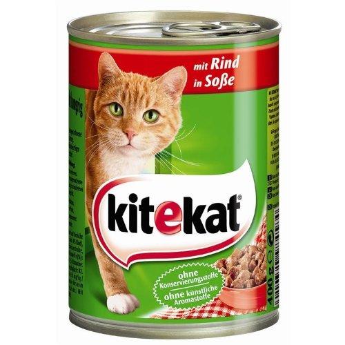 Kitekat Mit Rind in Sauce 12 x 400 - Katzenfutter Dosen Kitekat