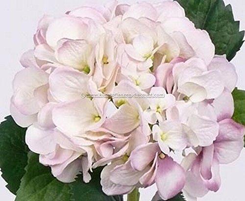 Hortensie Kunstblume mit weiß Rosa Blüte 15cm, Länge 48cm – Kunstpflanze Kunstbaum künstliche Bäume Kunstbäume Gummibaum Kunstoffpflanzen Dekopflanzen Textilpflanzen