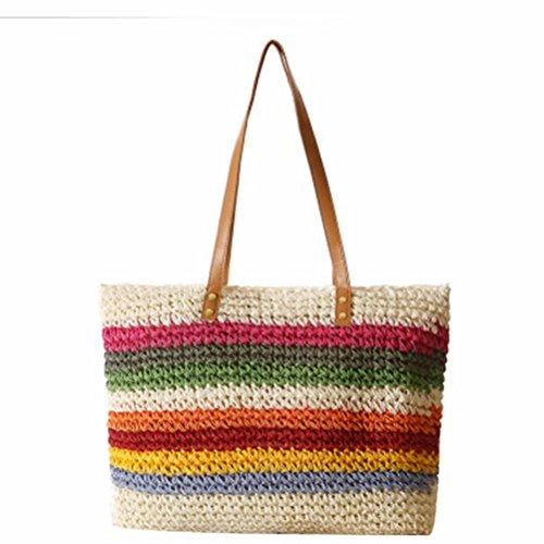 Frauen Handtasche Sommer Strand Stroh Tasche Schultertasche Bunte Streifen Tasche Damen Handtaschen Wei? (Pom Top Stripe)