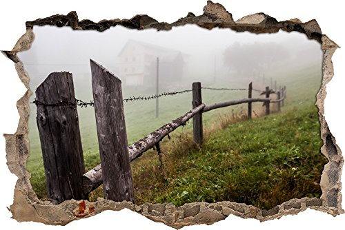 vecchia recinzione in legno nel muro svolta foschia in look 3D, parete o in formato adesivo porta: 62x42cm, autoadesivi della parete, autoadesivo della parete, decorazione della