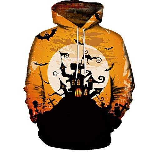 UFACE Paar Herbst/Winter Halloween 3D-Druck mit Kapuze Langarm-Pullover Casual Herbst Winter 3D Druck Halloween Hoodies Sweatshirt Bluse(D,XL)