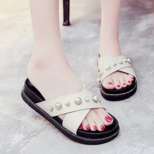 RUGAI-UE Estate pantofole donne pantofole spiaggia usura Skid rivetto Beige