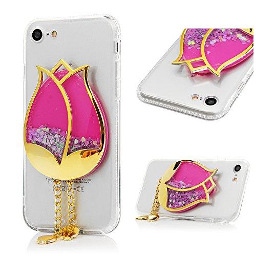 MAXFE.CO Coque Etui Protection iPhone 7 en PC + TPU Sable Découlée Housse Antichoc Case Cover Accessoire Coques pour iPhone 7 - Campanule Orange Lotus