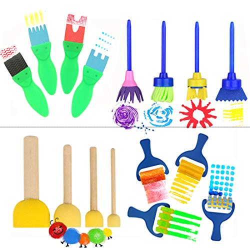 16 Stück - Pinsel für Kinder, Künstler malen Textur Pinsel - frühen Lernen Graffiti Pinsel EVA Schwämme Schaum Malerei Tools Set für Kinder Malerei Zeichnung Handwerk und DIY - Künstler Malen Tools