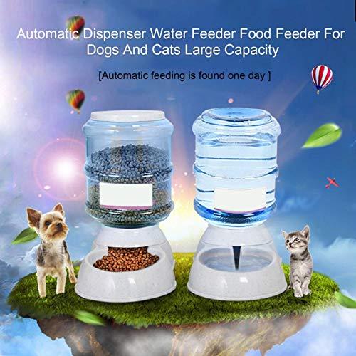 JohnJohnsen Artículos para Mascotas alimentador del Perro de Agua, dispensador automático del alimentador Cuencos para su Comida para Perros y Gatos 3.5L de Gran Capacidad (Blanco)
