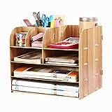 Tischorganizer Holz Schreibtisorganisator mit 4 Fächer Büro Briefablage Stifteköcher Multifunktional Aufbewahrungsregal Ablagesystem für Bücher Zeitungen und Magazine